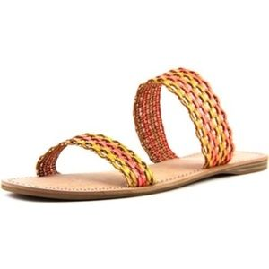 NWT Lucky Brand orange yellow sandals slides